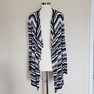 Chico's Travelers Black White Stripe Sweater Sze 2